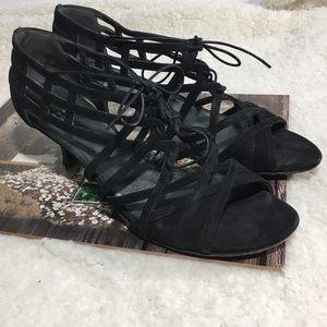 Stuart Weitzman Black Strappy Lace Up Sandals 8.5